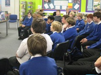 Pupils watching a presentation