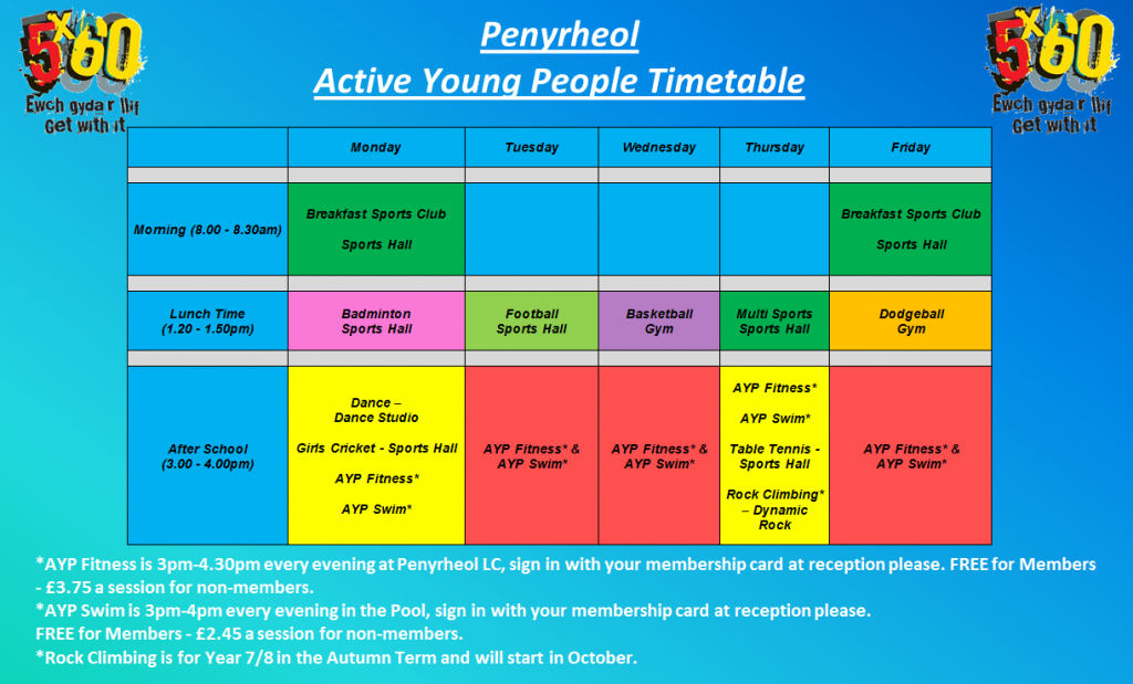 This is the active young people timetable in PNG formati