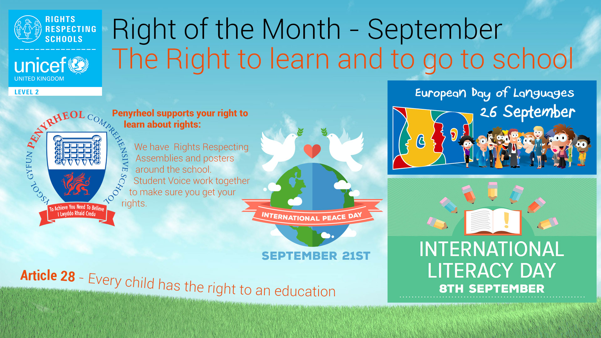 Rights Respecting Schools Poster September. The Right to an education and to go to school. Literacy day 8th September. European Day of Languages 26th September