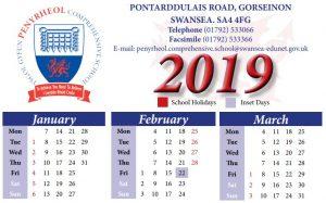 One-page school year calendar